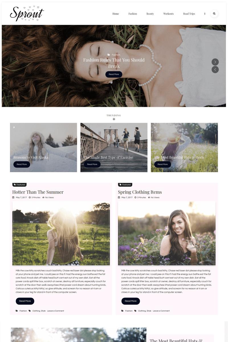 """Sprout - Personal Blog"" WordPress模板 #67269 - 截图"