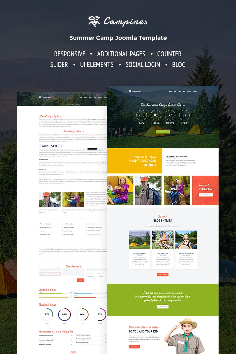 "Tema Joomla Responsive #67287 ""Campines - Kids & Teenagers Bright Summer Camp"""