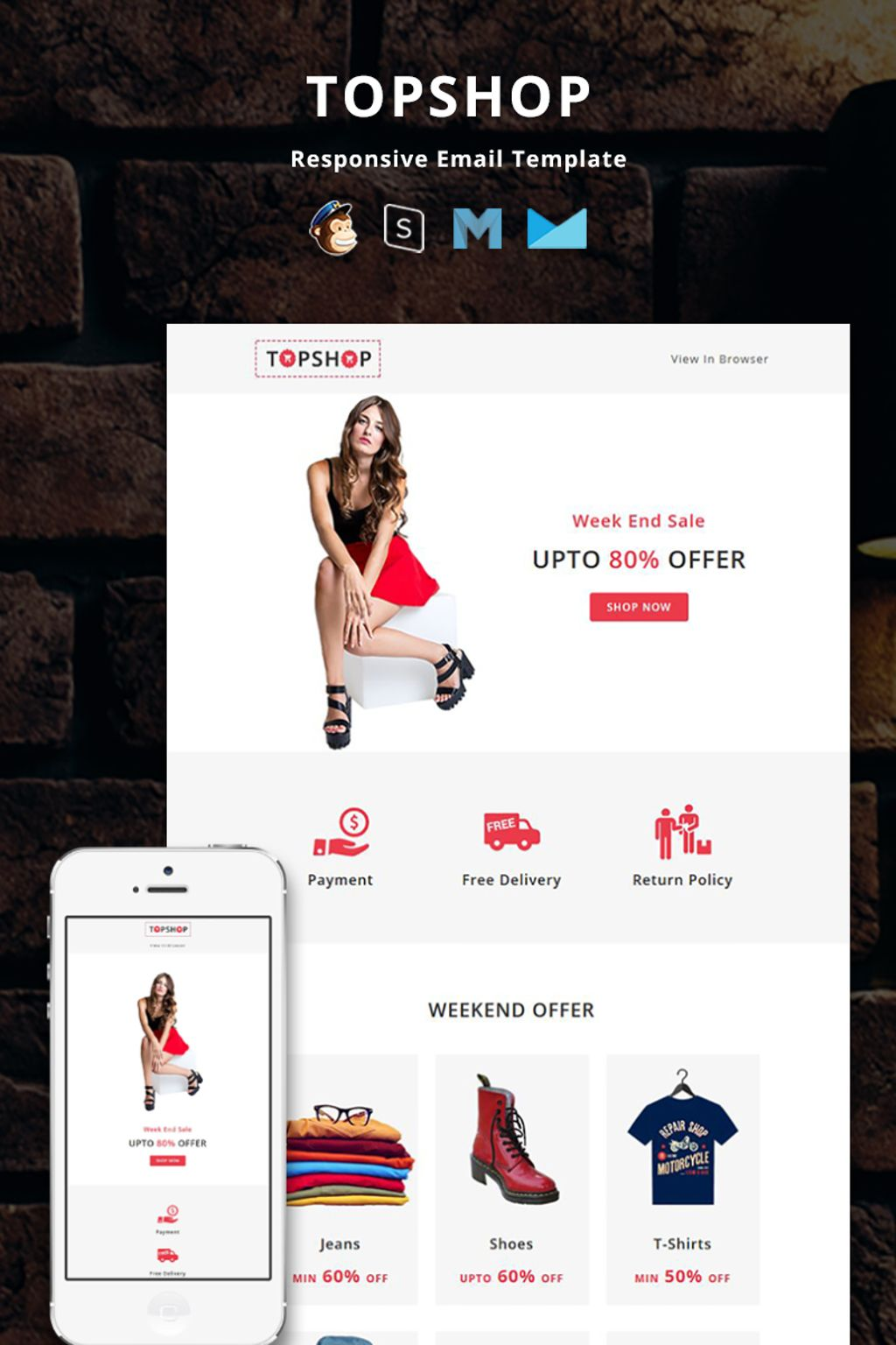 """Template di Newsletter Responsive #67255 """"TopShop - Responsive Email"""""""
