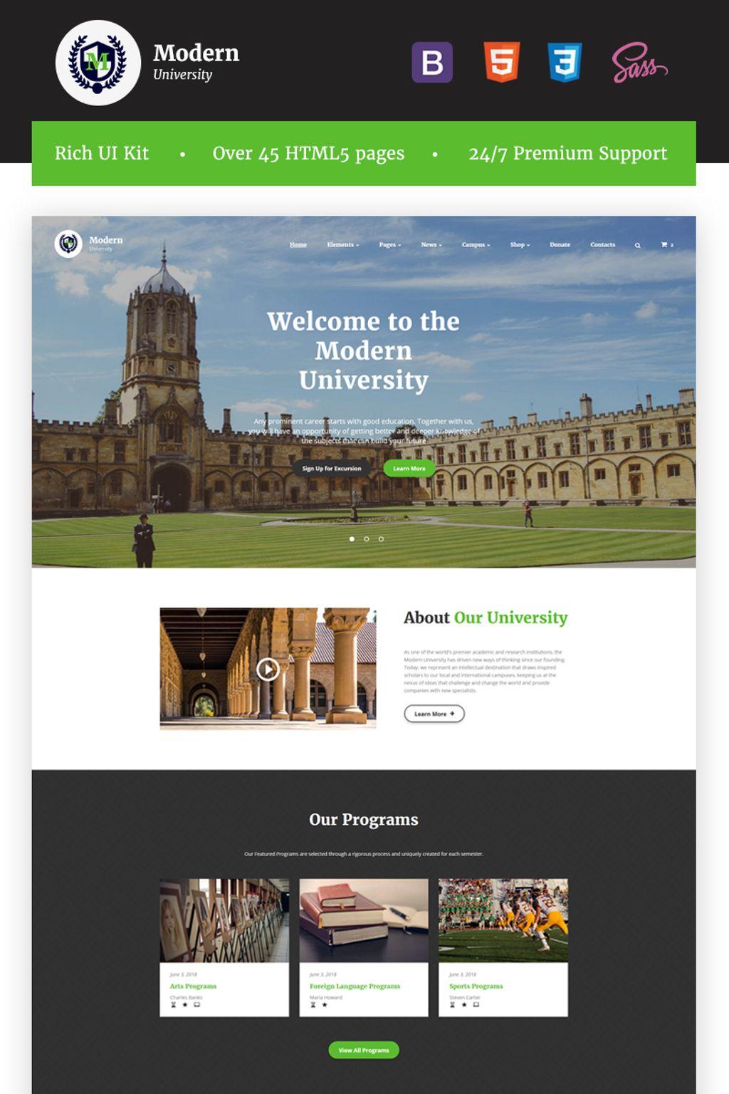 "Website Vorlage namens ""Modern University - University Or High-School Multipage Responsive  HTML"" #67241 - Screenshot"