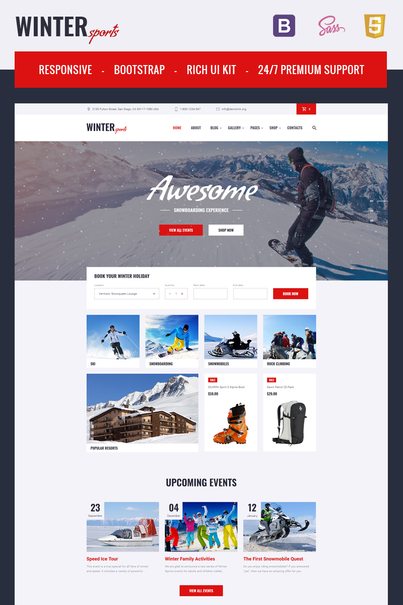 Winter Sports - Multipage Winter Sports Equipment Store HTML Template Web №67240