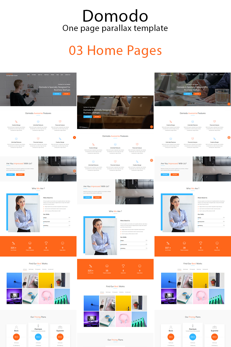 Website Template 67377 One Page Parallax Custom Website Template