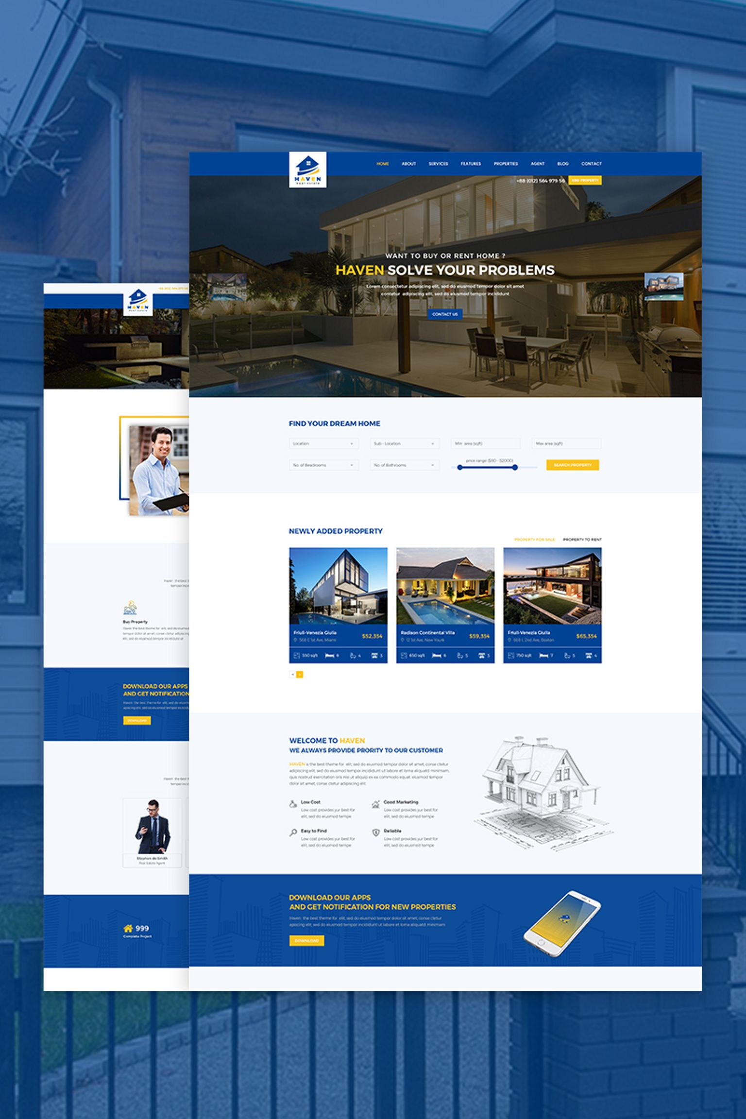 Website Design Template 67385 - broker business developer directory google maps listing property real estate agent realtor rental