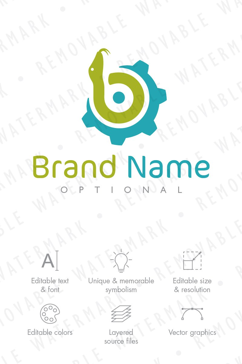 B Snake Technology Logo Template #67348