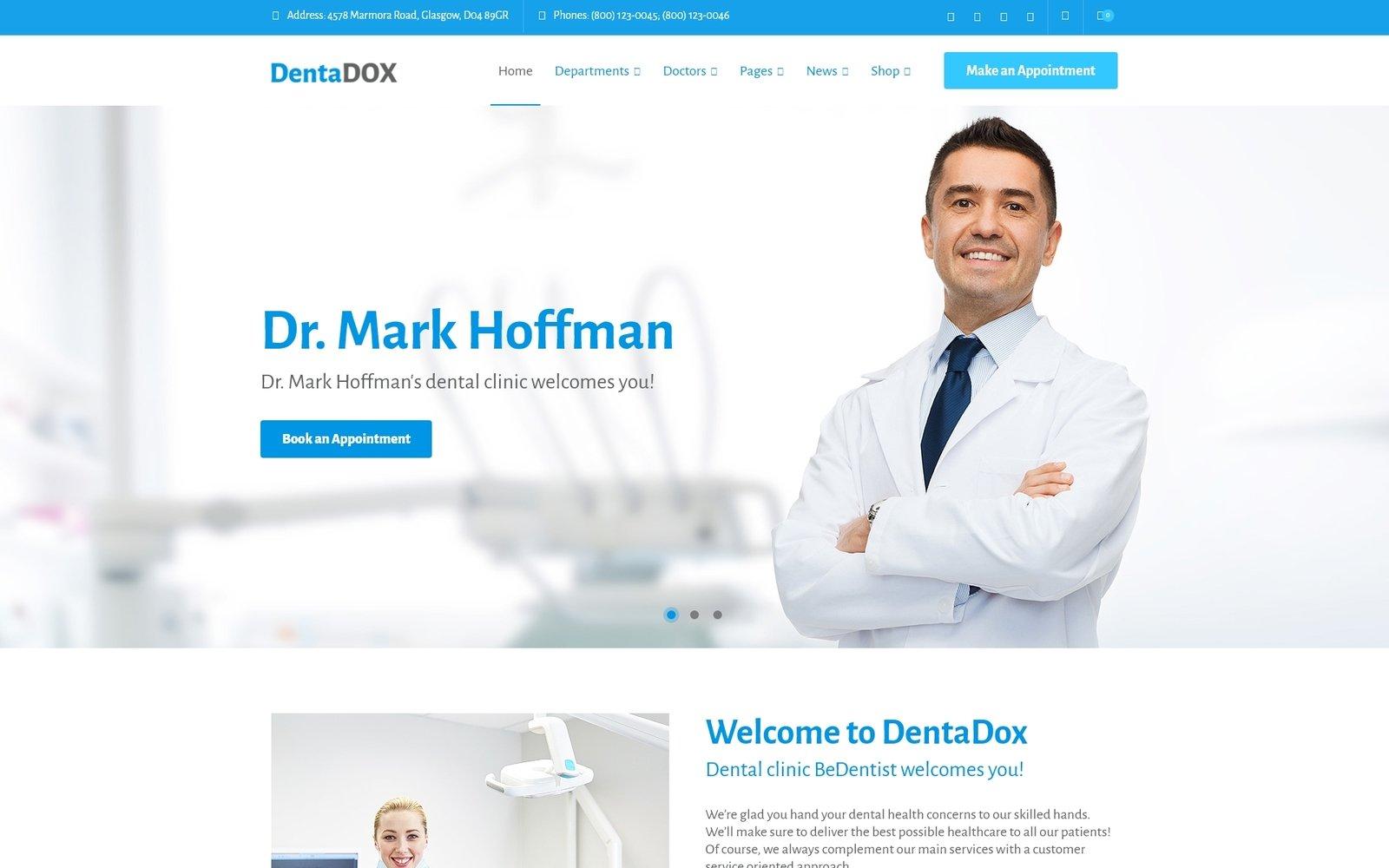 """DentaDox - Denistry Clinic"" - адаптивний WordPress шаблон №67397"