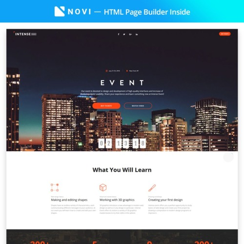 Intense Event - Event Planner with Novi Builder - Landing Page Template based on Bootstrap