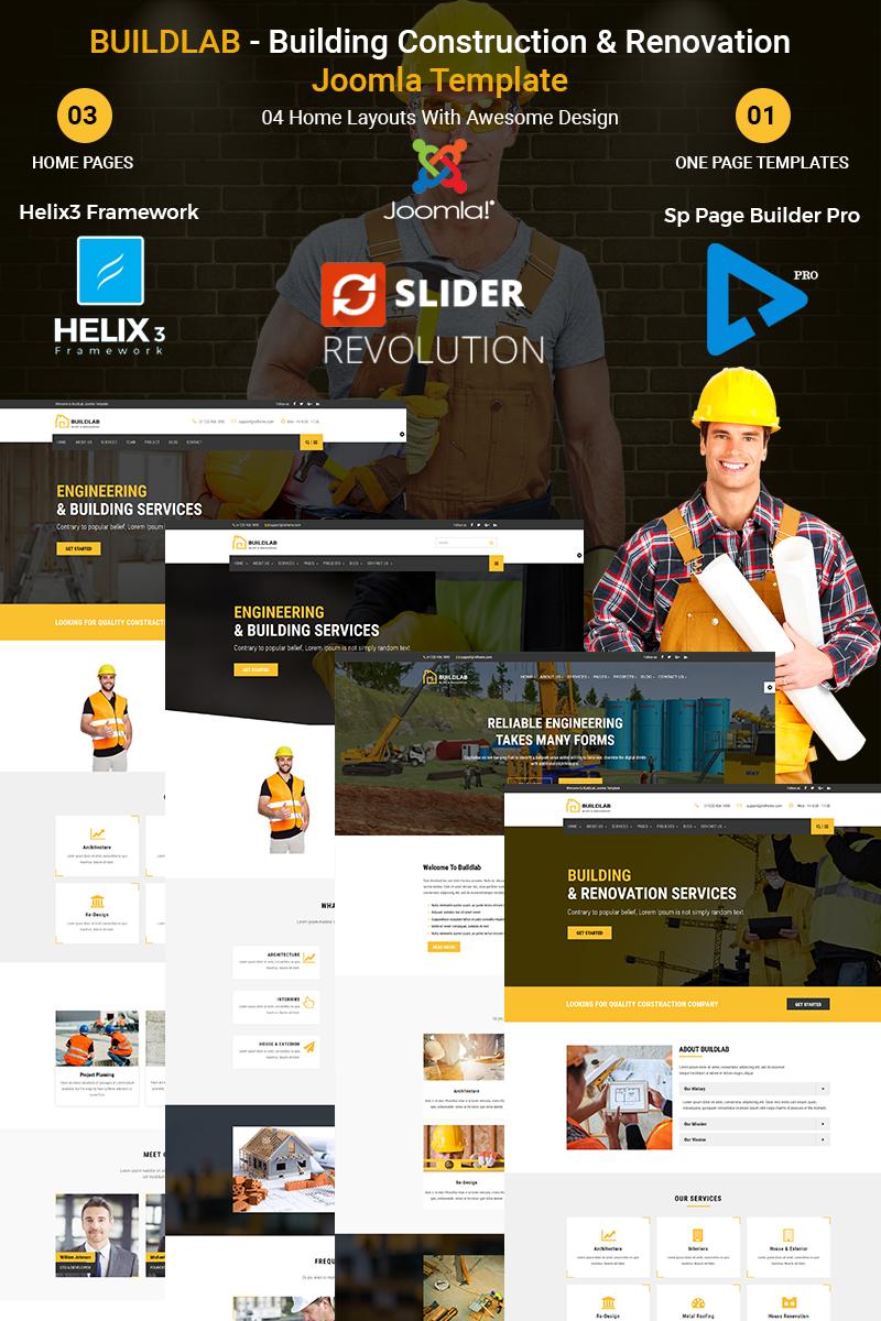 """Joomla Vorlage namens """"BuildLab - Building Construction & Renovation"""" #67302"""