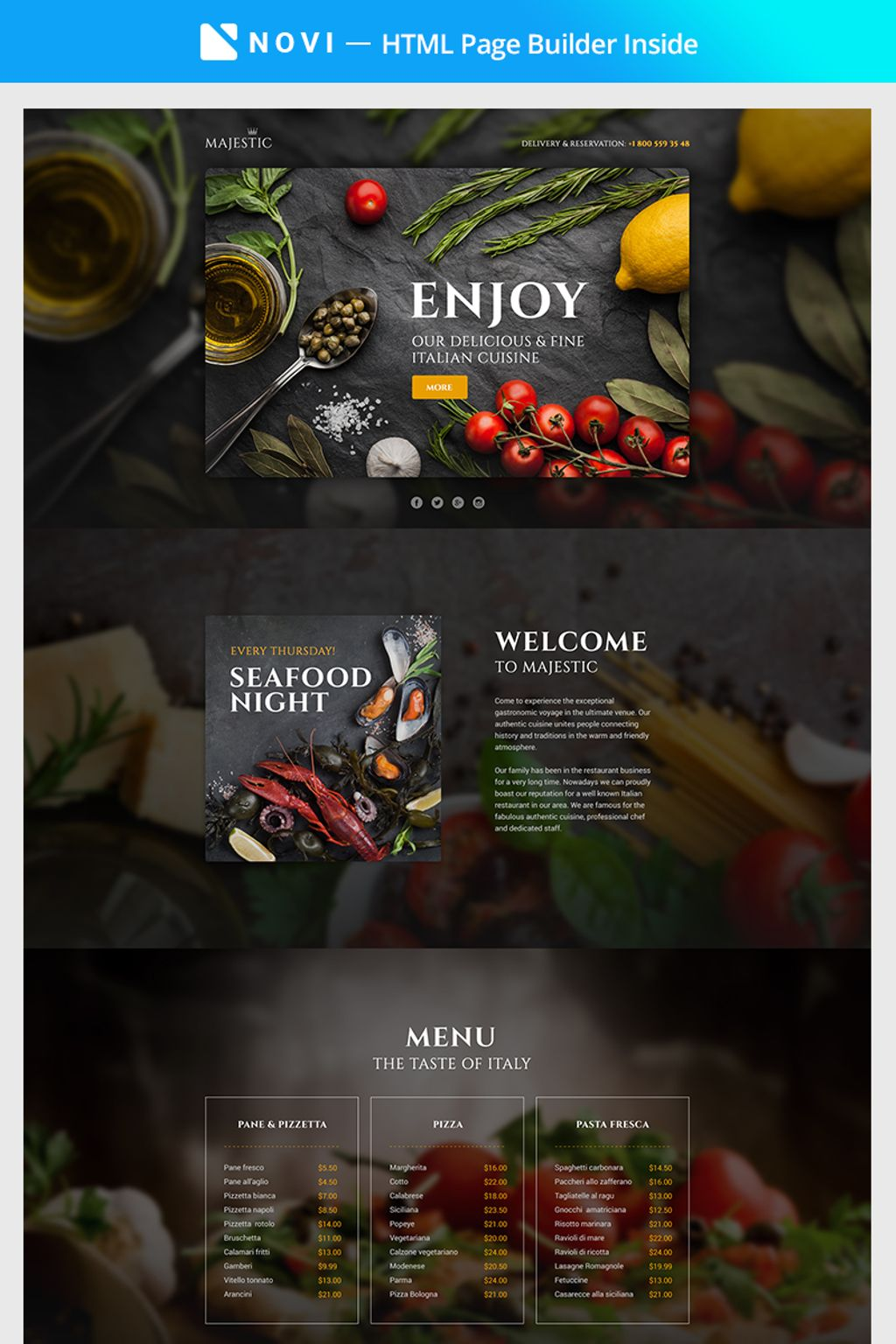 """Majestic - Responsive Restaurant Template Compatible with Novi Builder"" 响应式着陆页模板 #67374"