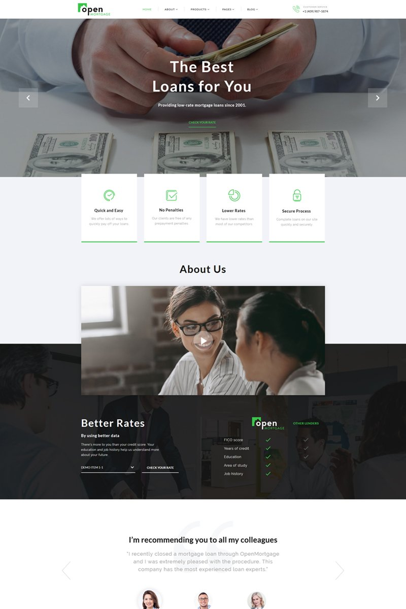 OpenMortgage - Classy Loan Consulting Company Multipage HTML Website Template