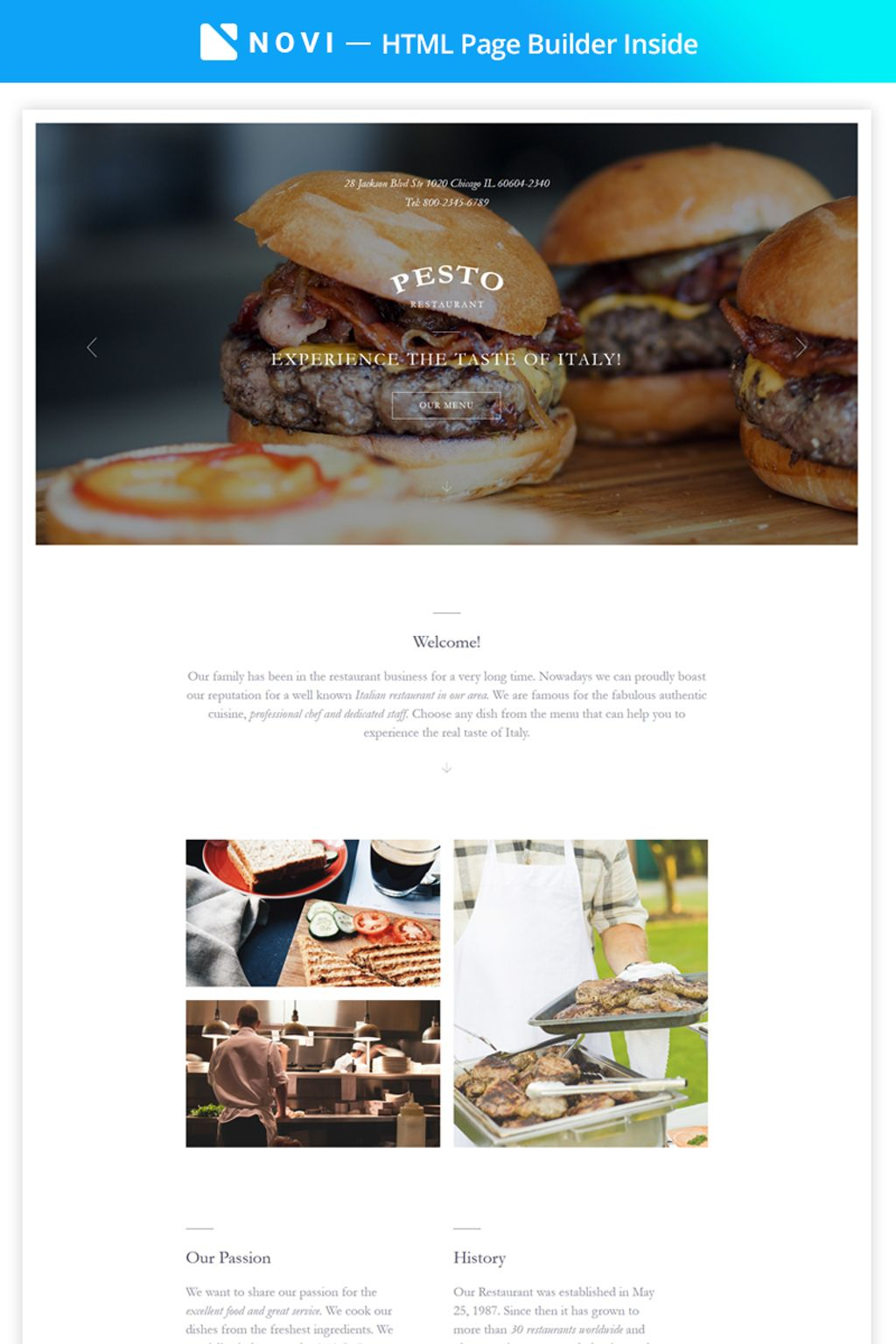 """Pesto - Elegant Restaurant Template Compatible with Novi Builder"" 响应式着陆页模板 #67373"