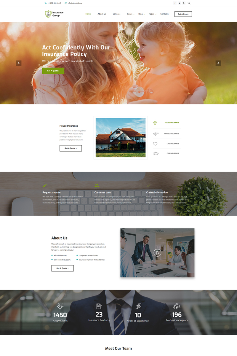 Responsywny szablon strony www Insurance Group - Sophisticated Insurance Conpany Multipage HTML #67394