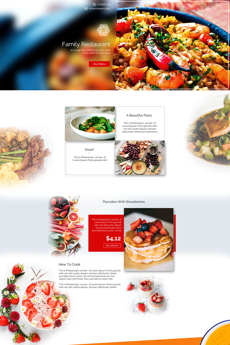 Restaurant Landing Page PSD Template