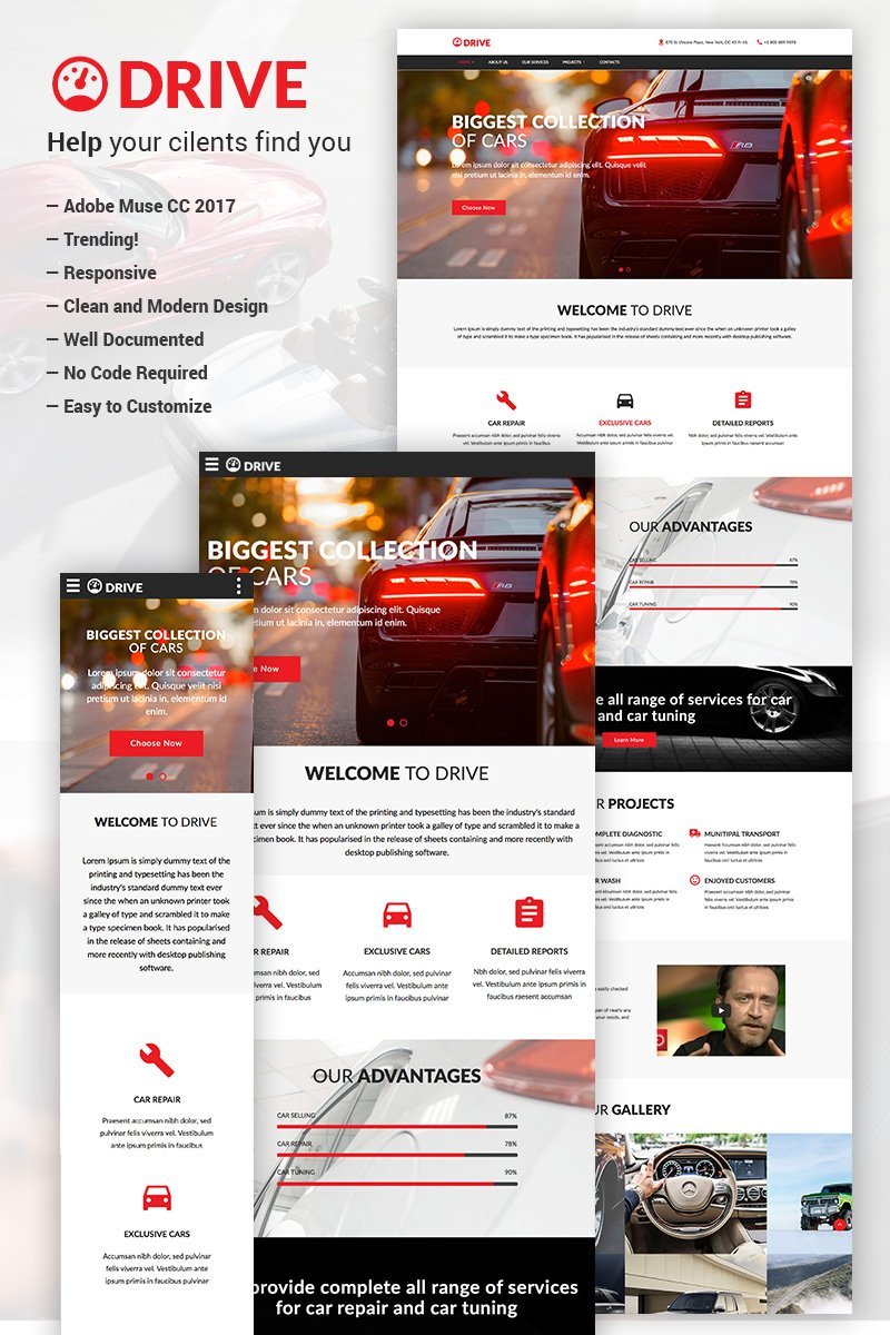 Reszponzív Drive - Car Repair & Tuning Muse sablon 67379