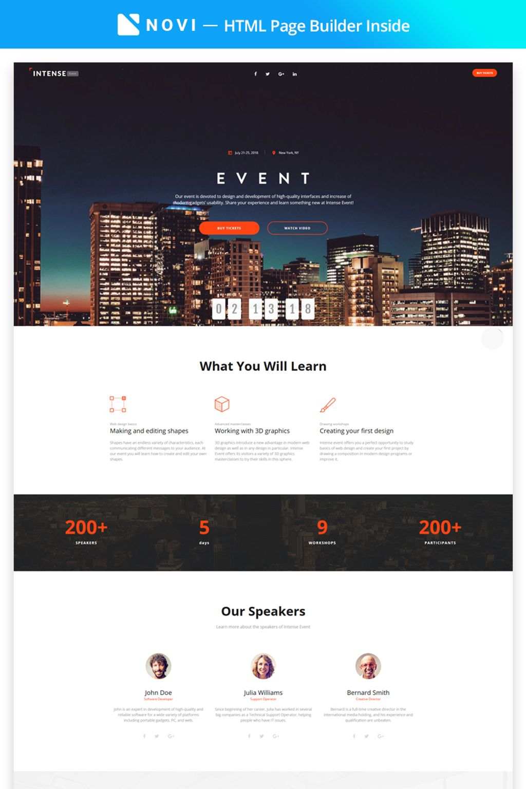 "Tema di Landing Page Responsive #67320 ""Intense Event - Event Planner with Novi Builder"""