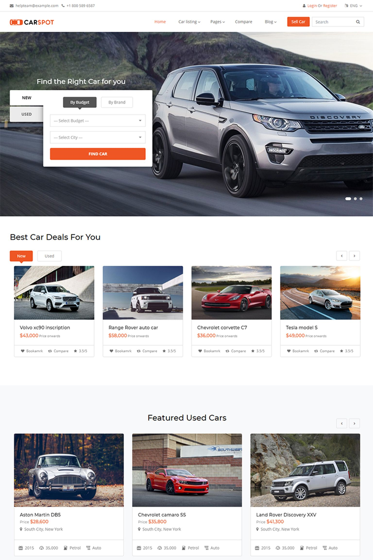 "Tema Siti Web Responsive #67386 ""Carspot - Automotive Car Dealer"""