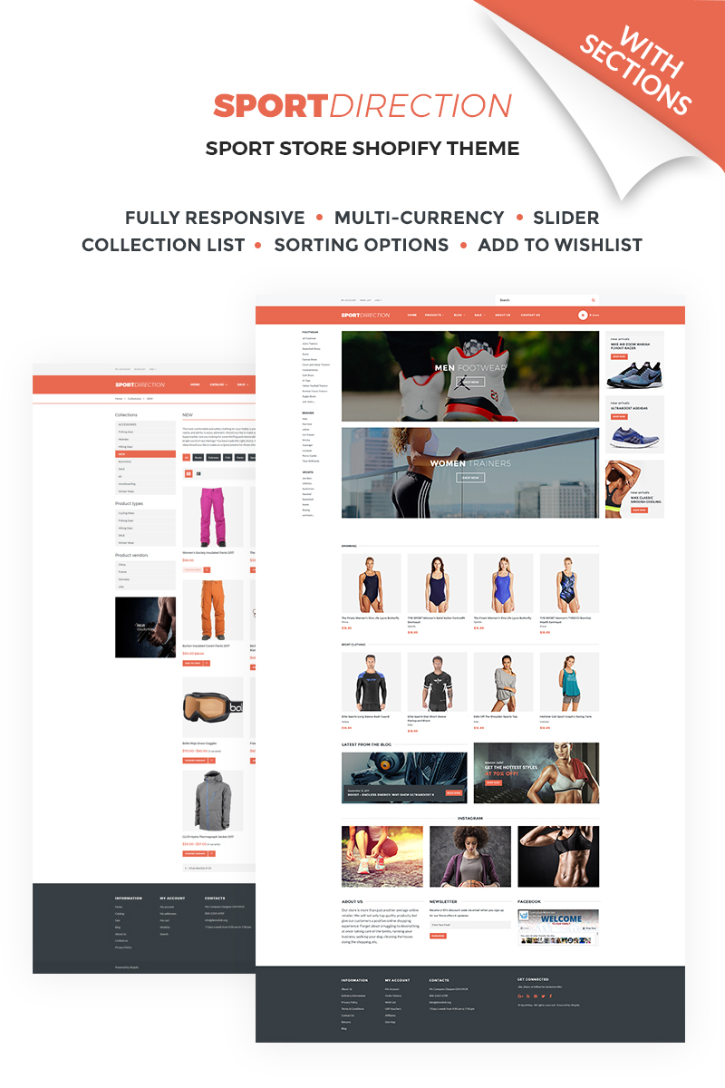 """Template Shopify Responsive #67399 """"Sport Direction - Sports Store"""""""