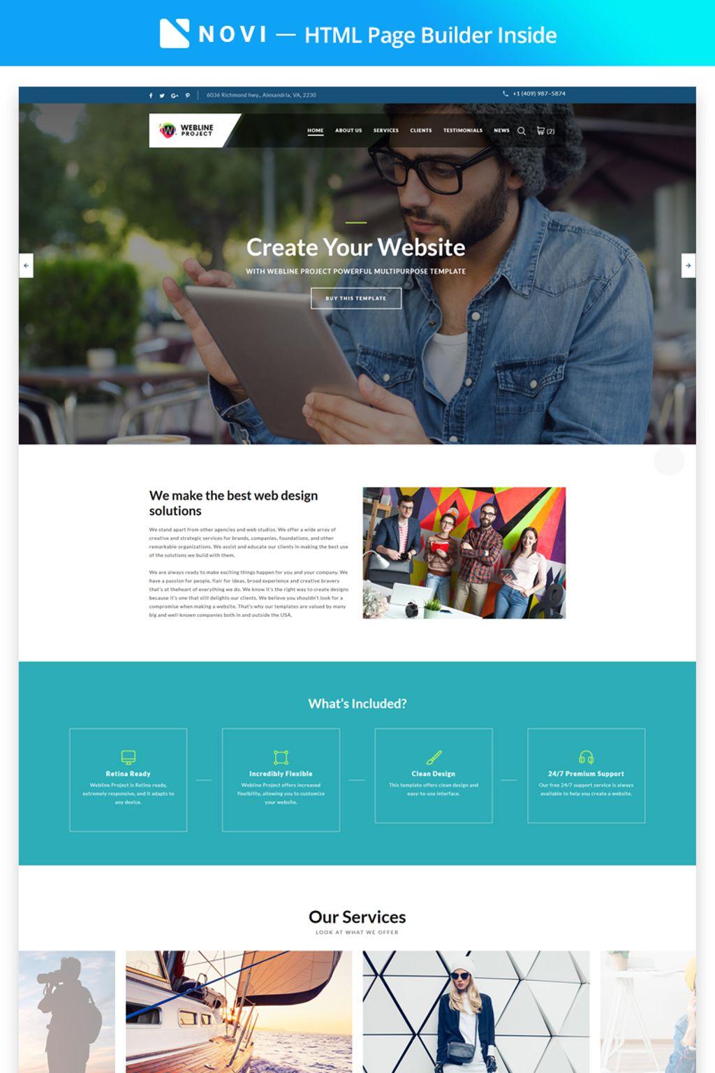 Webline Project - Corporate with Novi Builder Landing Page Template