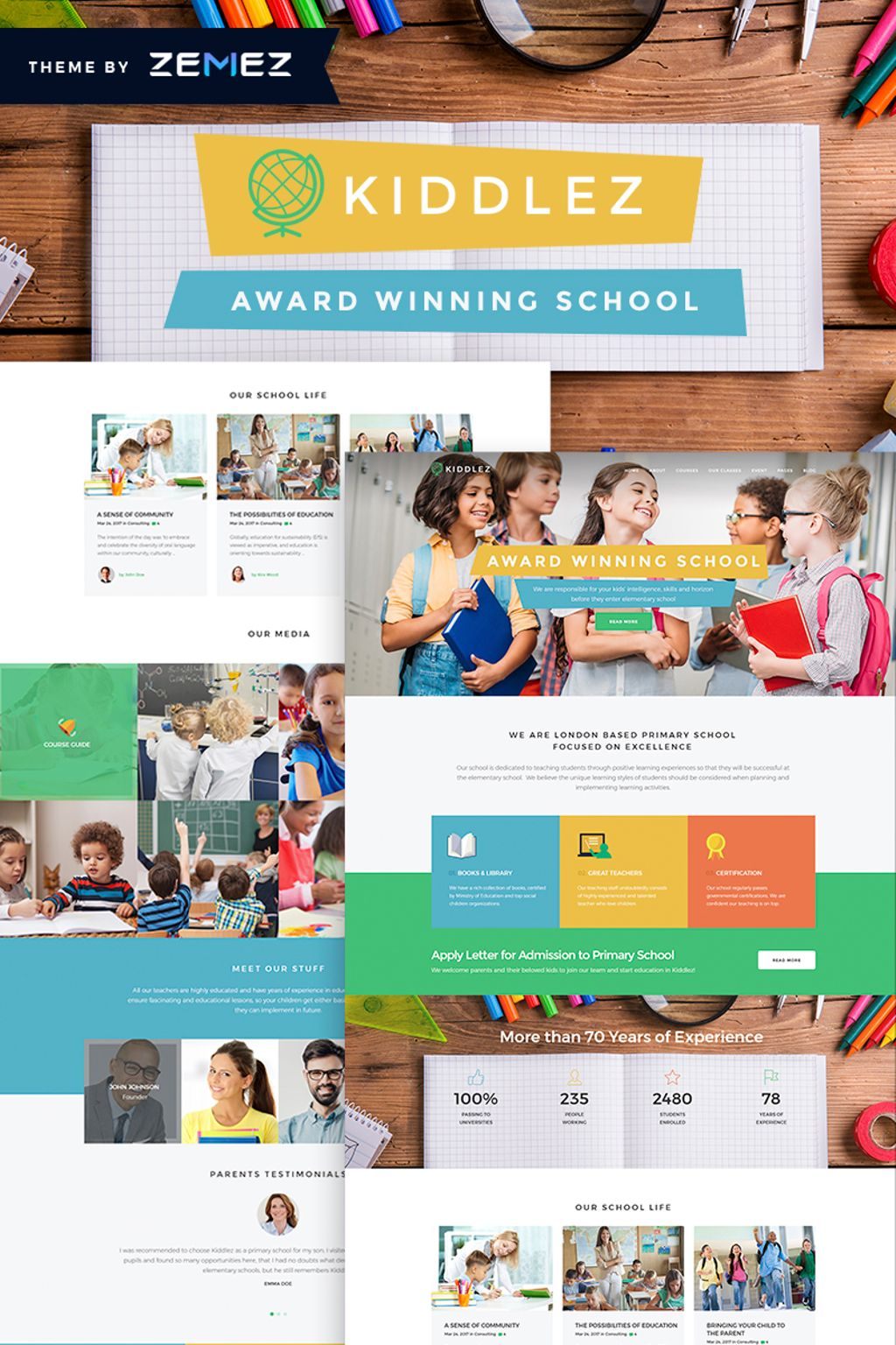 "WordPress Theme namens ""Kiddlez - Primary School Responsive"" #67321"