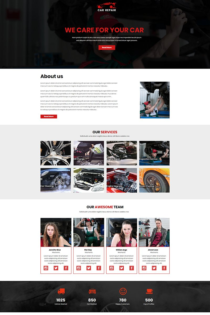 """Car Repair"" Unbounce Template №67447"