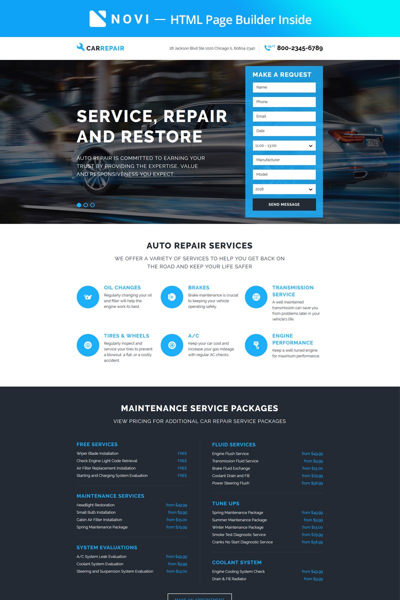 """CarRepair - Practical Car Repairing Workshop with Built-In Novi Builder"" Responsive Landingspagina Template №67411"