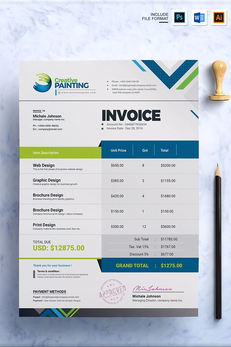 Creative invoice corporate identity template 67497 thecheapjerseys Choice Image