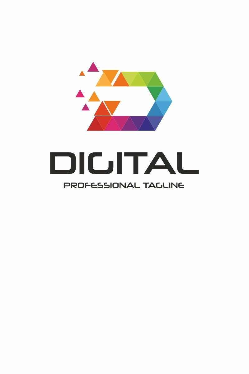 Digital - D Letter Polygon Logo Template #67467