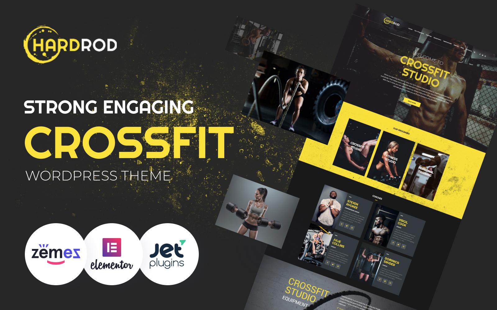 """Hardrod - Dynamite Fitness & Bodybuilding"" - адаптивний WordPress шаблон №67404"