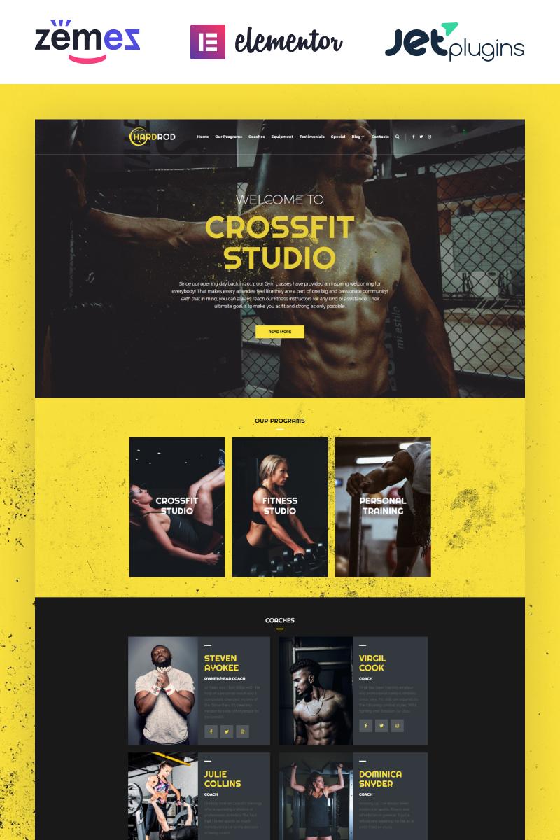 """Hardrod - Dynamite Fitness & Bodybuilding"" 响应式WordPress模板 #67404"