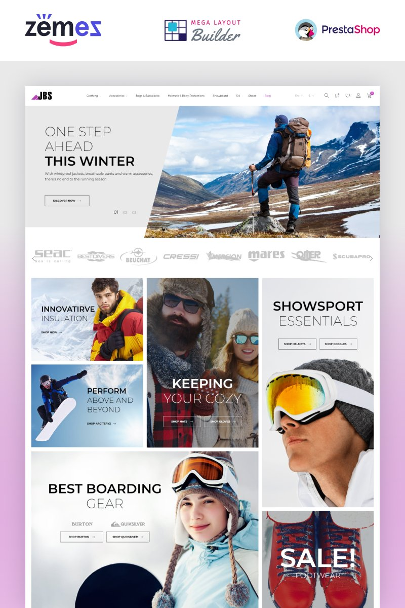 """JBS - Winter Sports Equipment"" - адаптивний PrestaShop шаблон №67439"