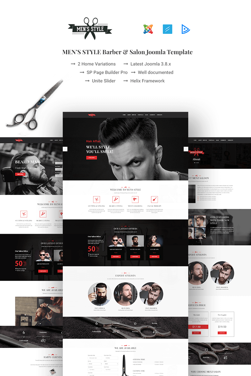 """MenzStyle - Barber & Salon"" Bootstrap Joomla Template №67459"