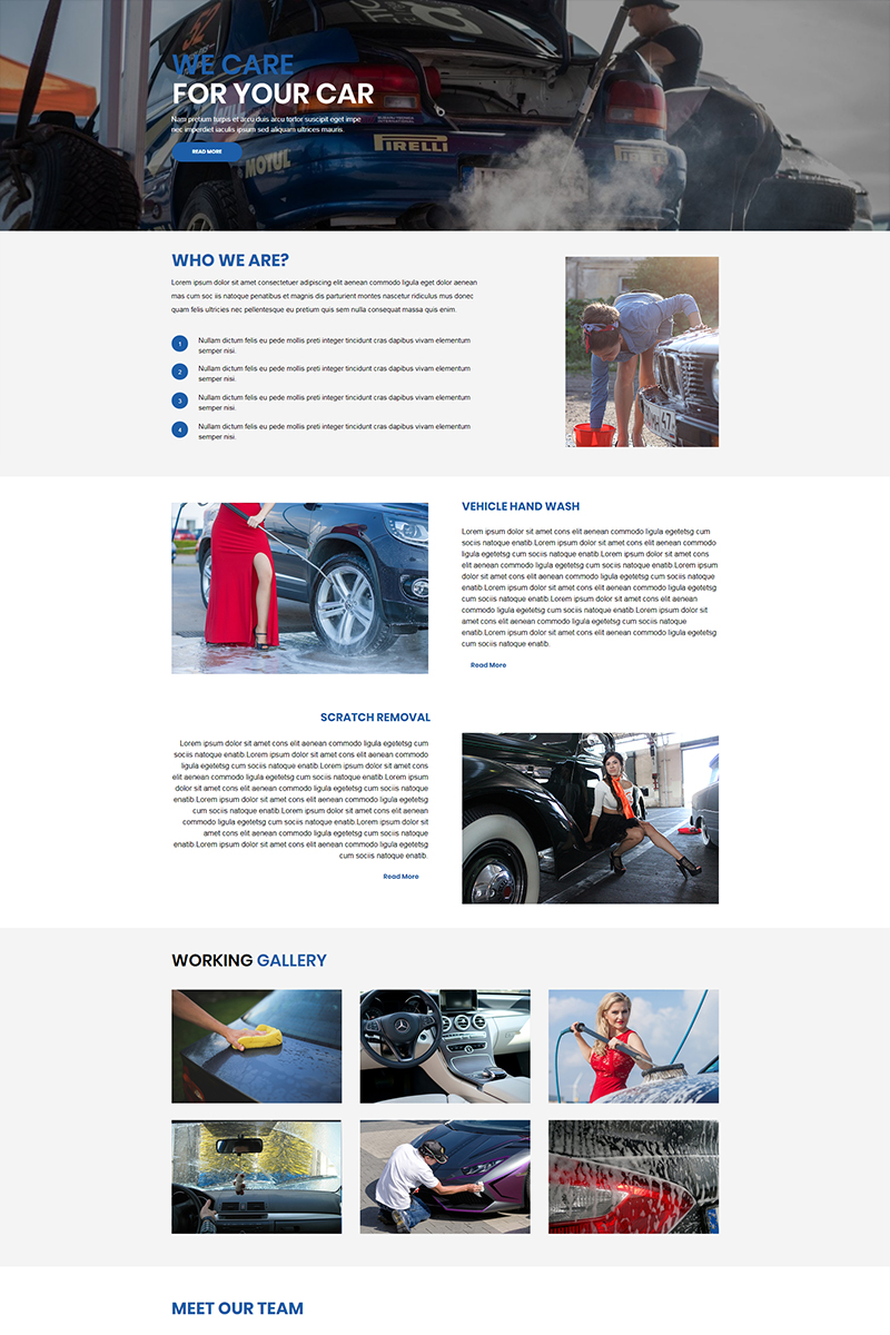 """Responzivní Unbounce šablona """"Car Wash -"""" #67453"""
