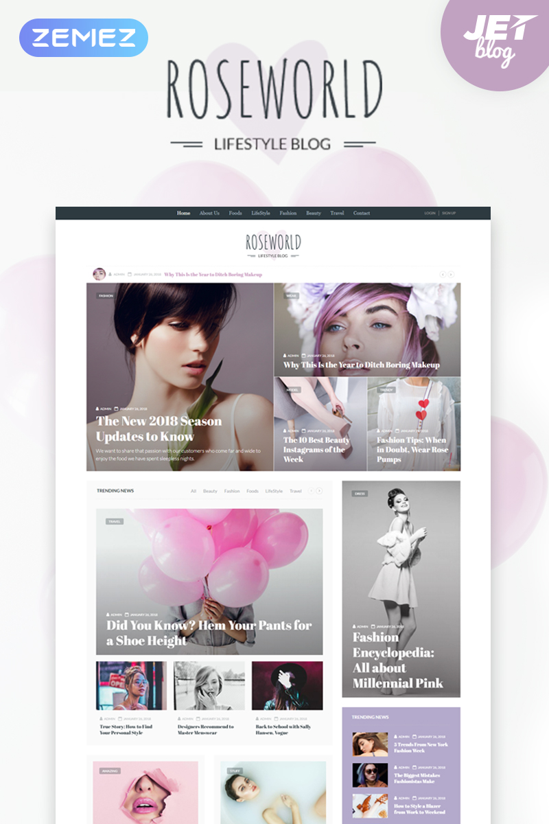 Roseworld - Lifestyle Blog WordPress Theme - screenshot