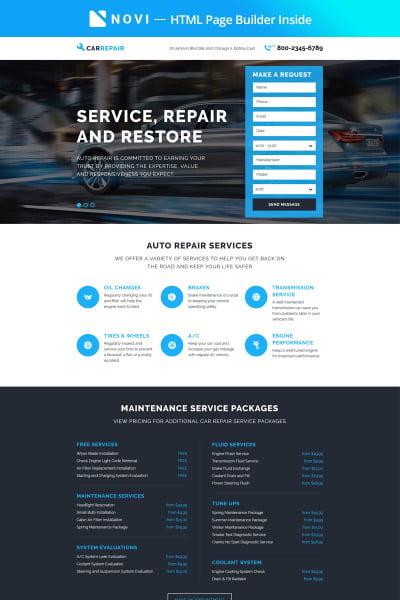 "Шаблон посадочной страницы ""CarRepair - Practical Car Repairing Workshop with Built-In Novi Builder"" #67411"