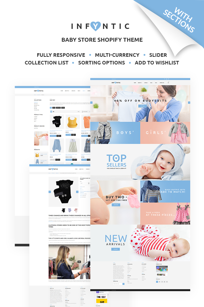 """Shopify Theme namens """"INFYNIC - Calm Baby Clothing Online Shop"""" #67441"""