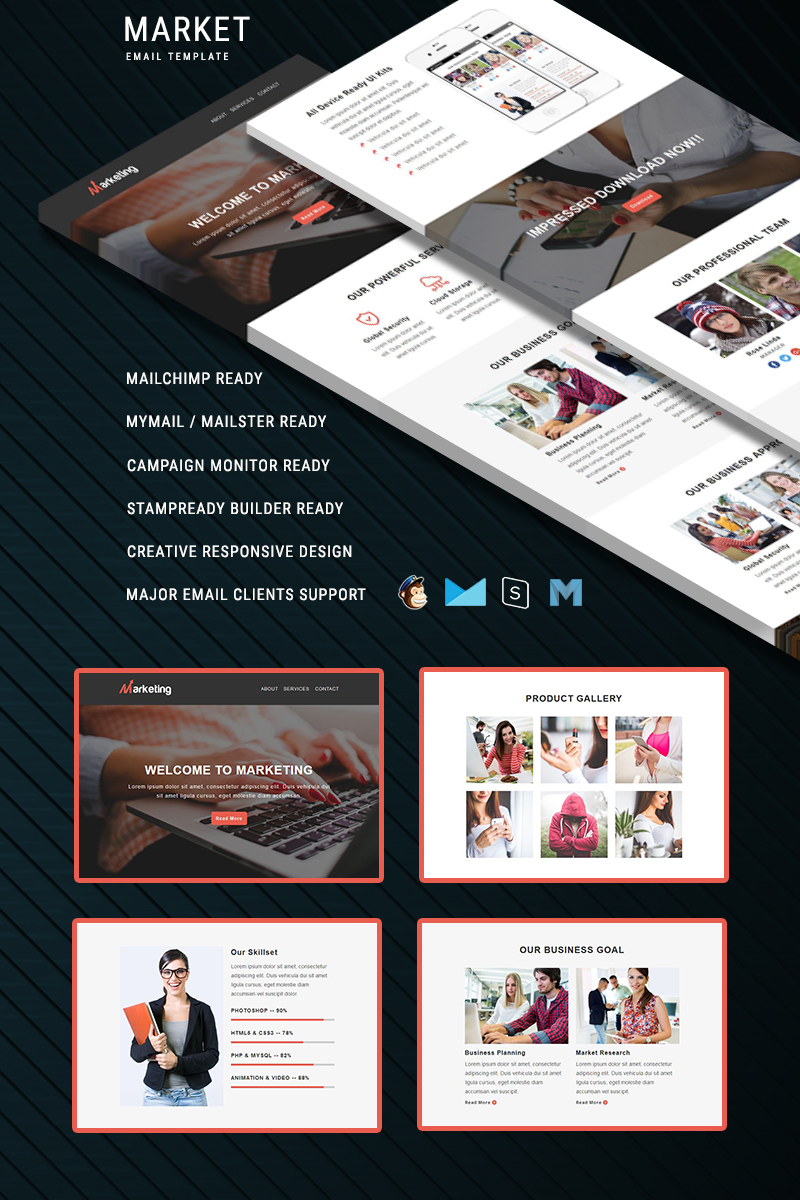 "Tema di Newsletter Responsive #67449 ""Marketing - Responsive"""