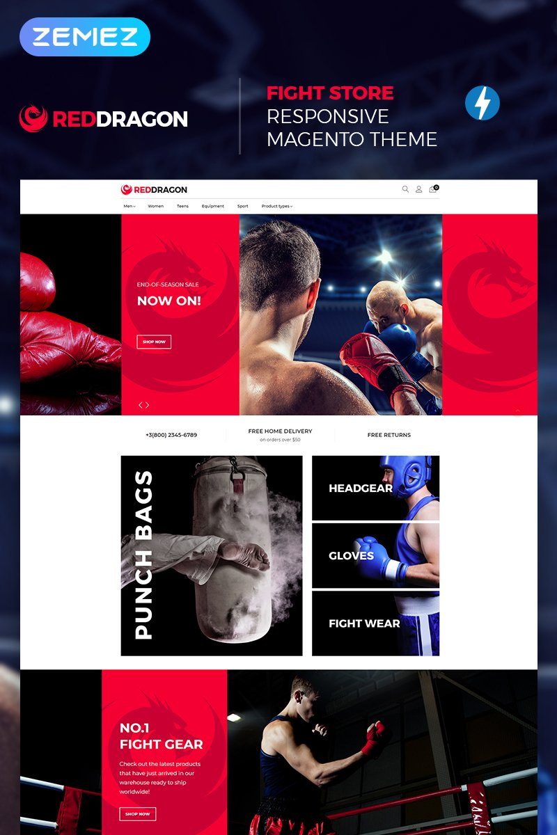 "Tema Magento ""RedDragon - Martial Arts Shop"" #67400"