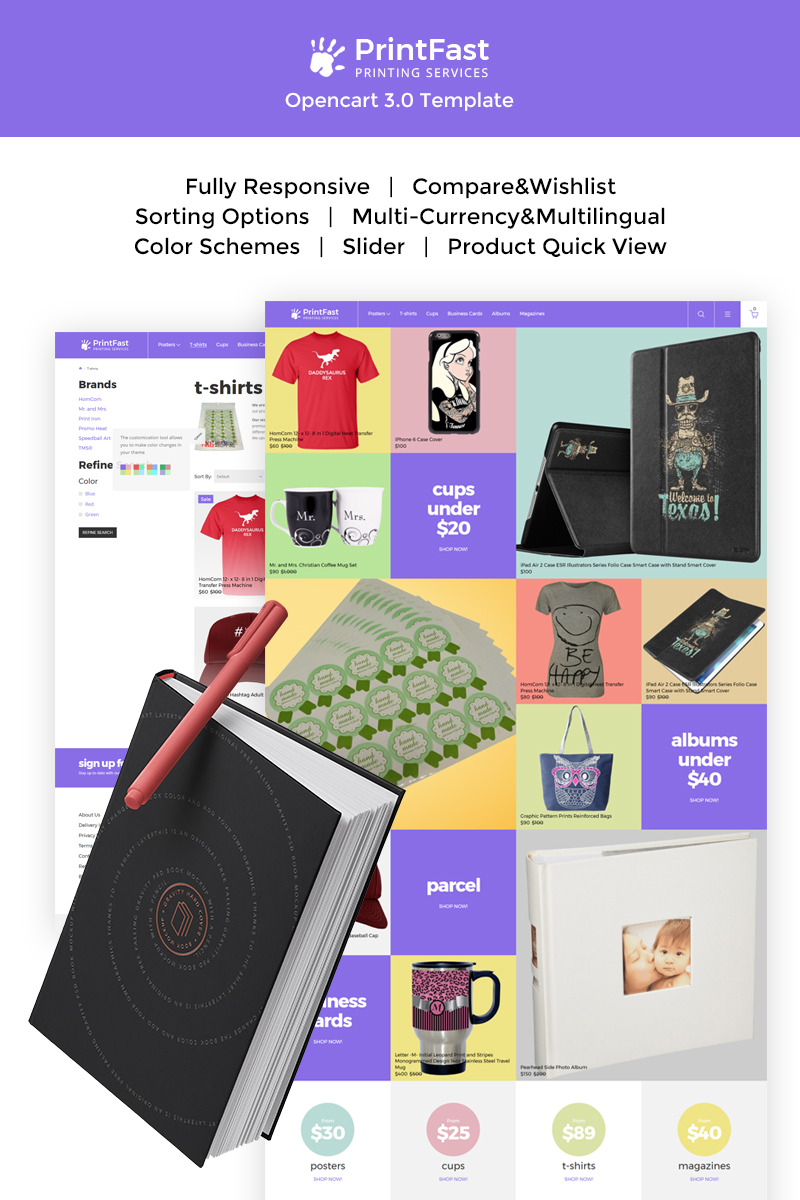 """Template OpenCart Responsive #67435 """"Print Fast - Simple Print Services"""""""