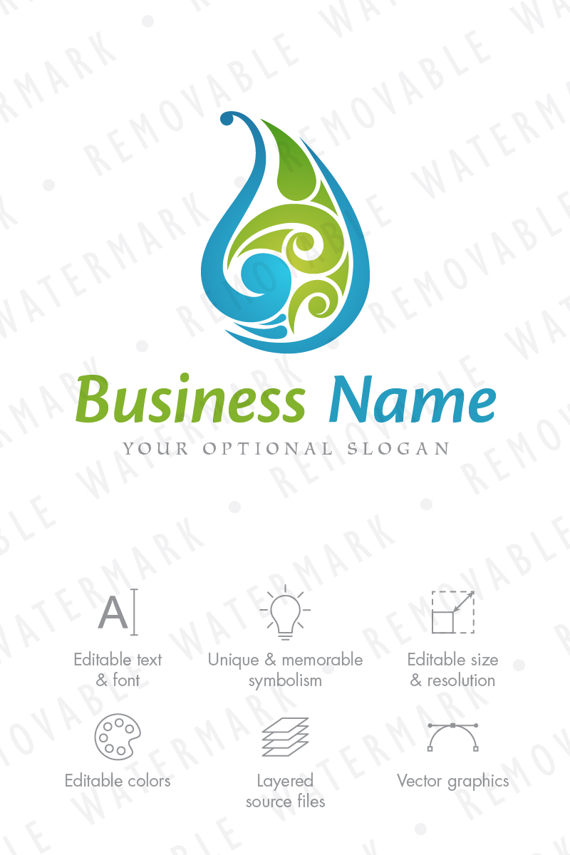 tribal water drop logo template 67421