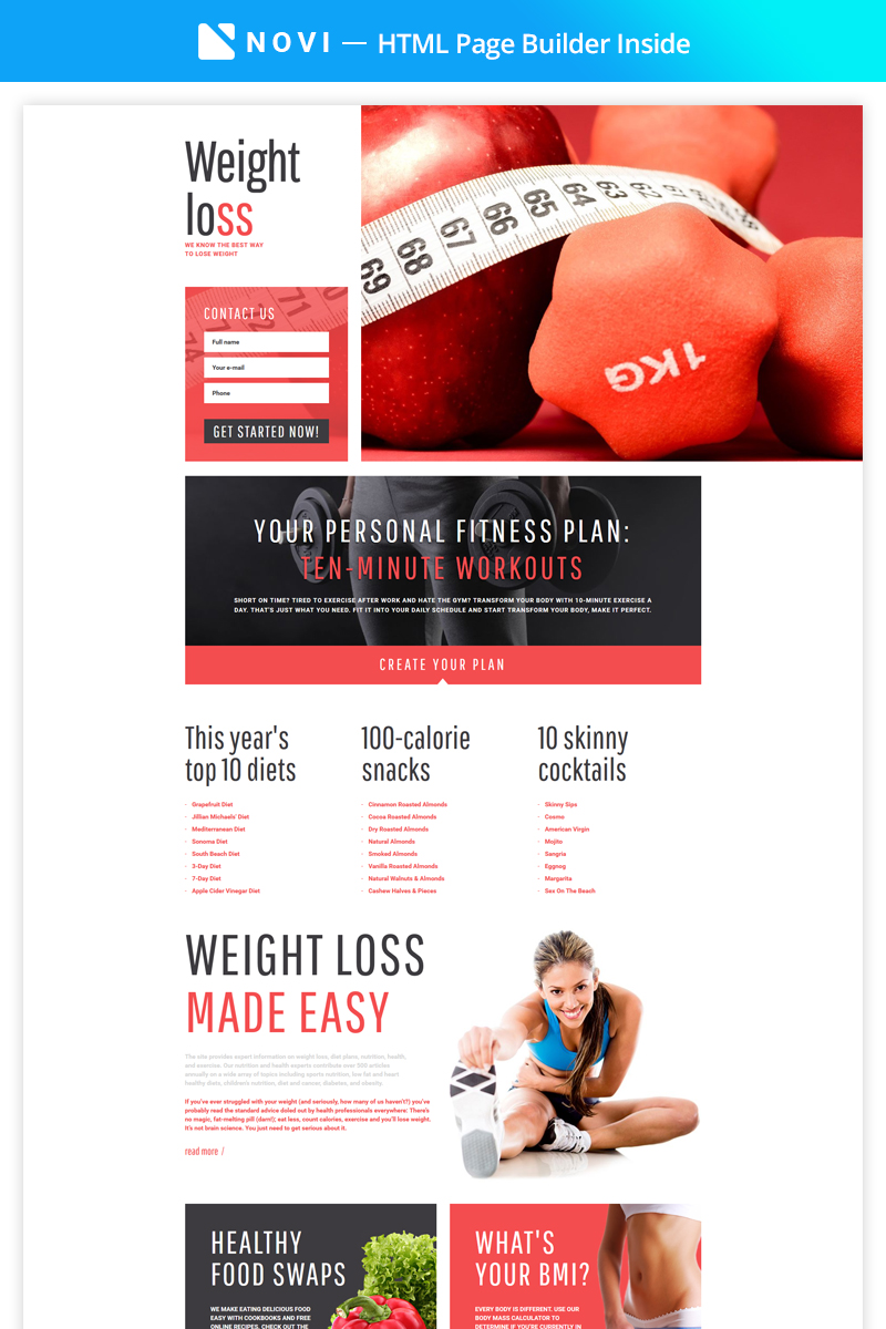 """""""Weight Loss - Simple Weight Loss Program Compatible with Novi Builder"""" 响应式着陆页模板 #67442"""