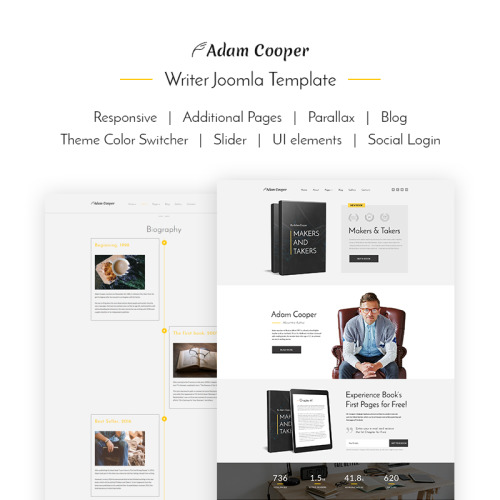 Adam Cooper - Writer - Joomla! Template based on Bootstrap