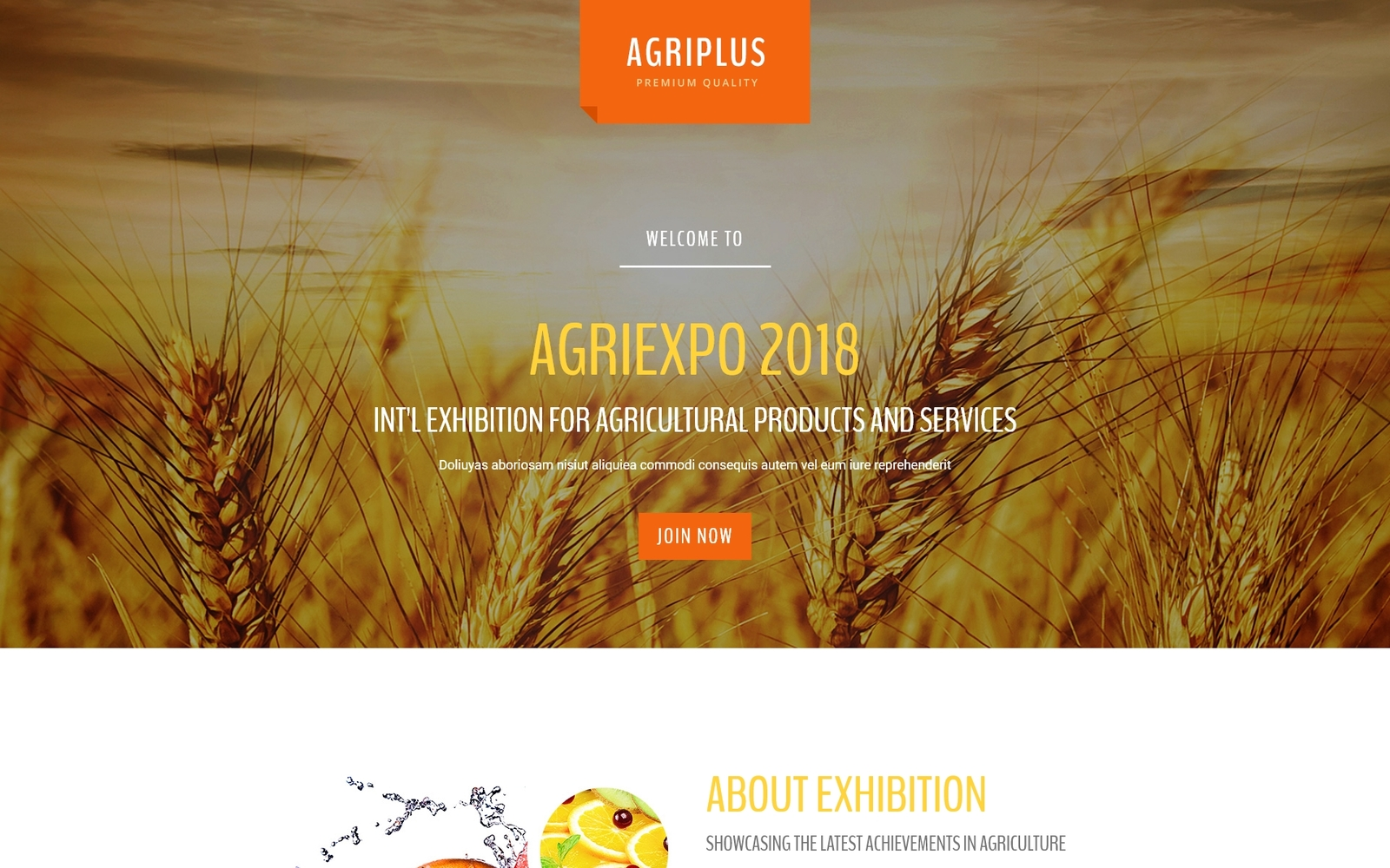 """Agriplus - Impressive Agriculture Exhibition with Built-In Novi Builder"" - адаптивний Шаблон цільової сторінки №67554"