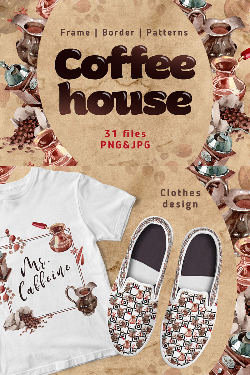 Coffee House PNG Watercolor Set Illustration