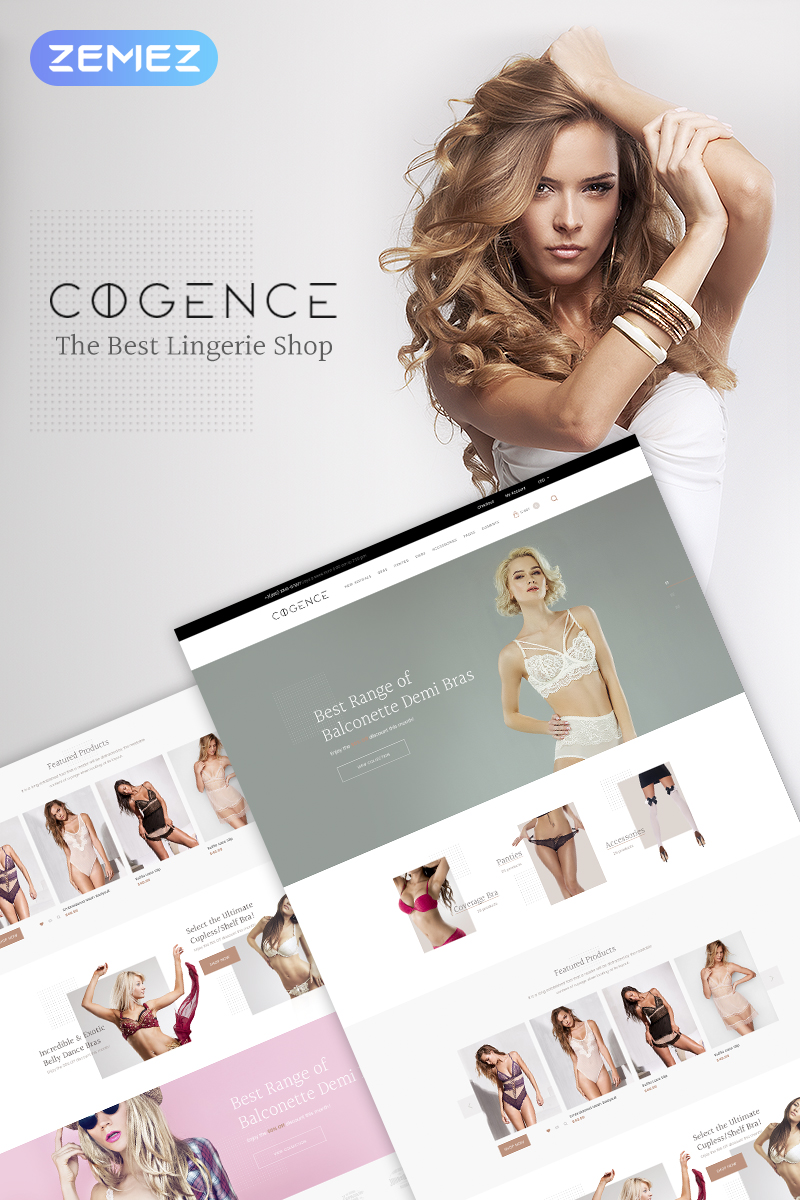 """Cogence - Lingerie Shop"" Responsive WooCommerce Thema №67561"