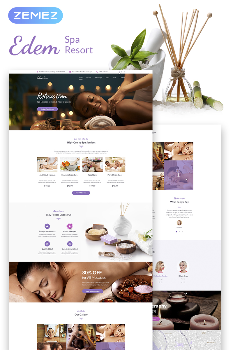 """Edem - Sophisticated Beauty Salon"" - адаптивний WordPress шаблон №67555 - скріншот"