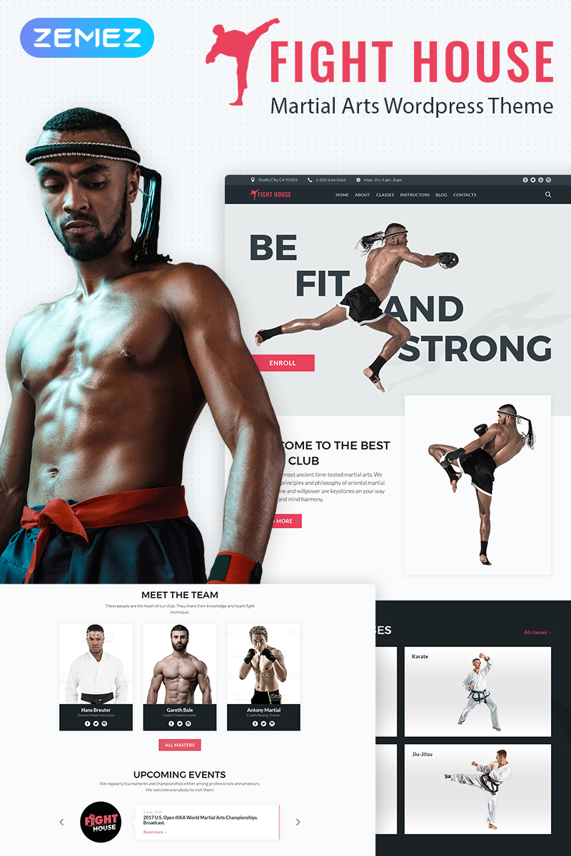 """Fight House - Brutal Martial Arts Club"" Responsive WordPress thema №67584"