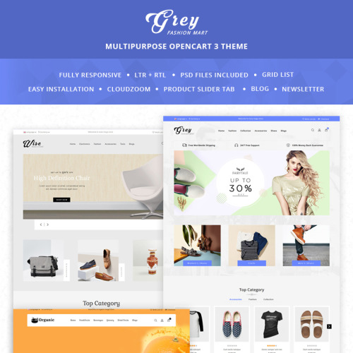 Grey Fashion Mart - OpenCart Template based on Bootstrap