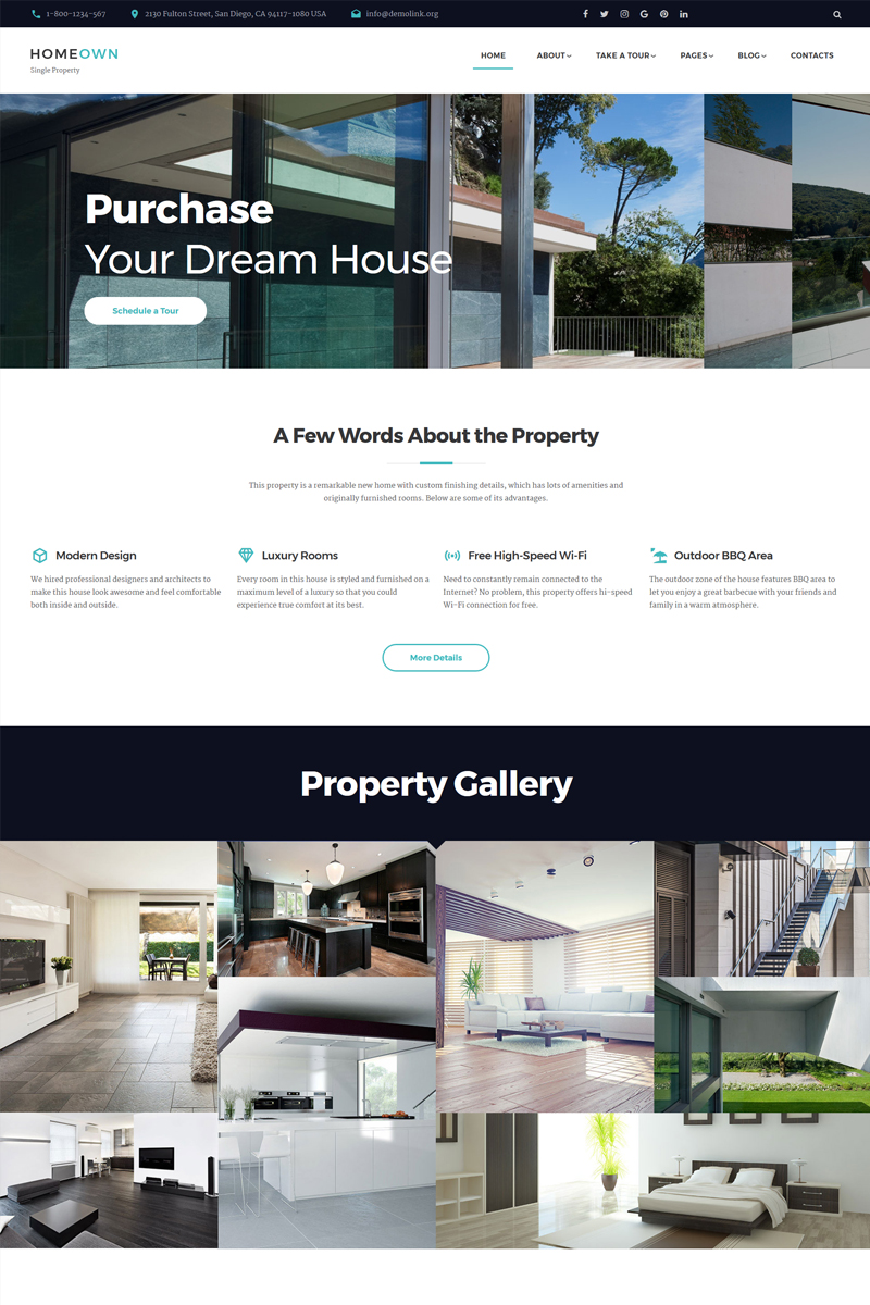 """""""HOMEOWN - Luxury Single Property Selling Company Multipage HTML"""" 响应式网页模板 #67585"""