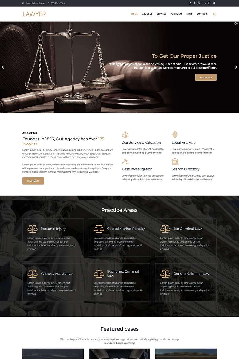 Lawyer Firm - Premium Template Drupal №67569