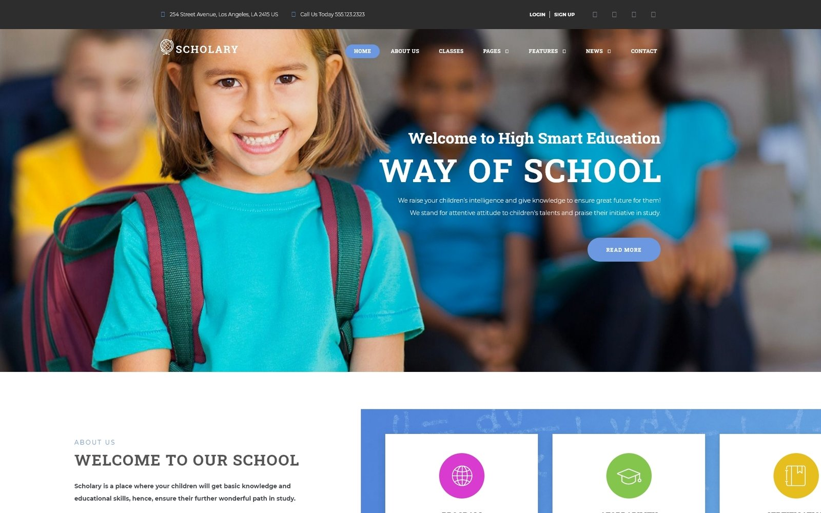 "Modello WordPress Responsive #67505 ""Scholary - Primary School"" - screenshot"