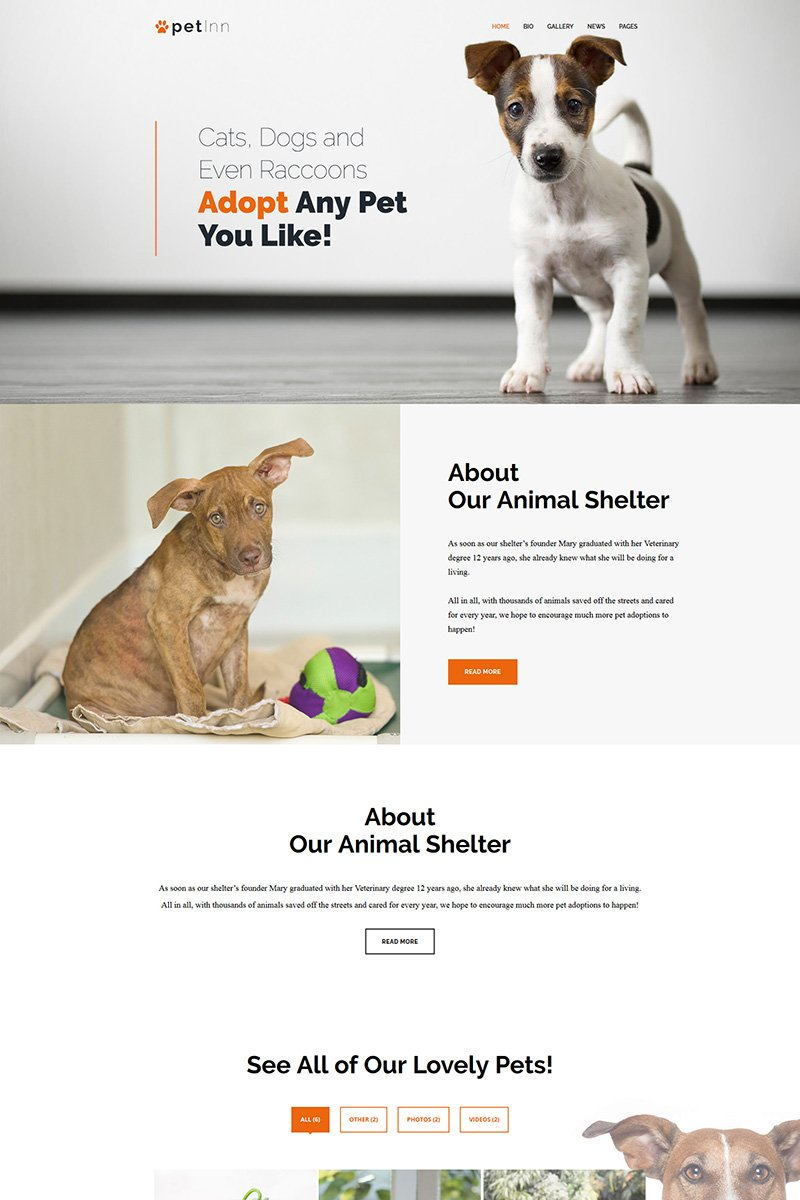 Motyw WordPress PetInn - Responsive Animals & Pets Charity #67567 - zrzut ekranu